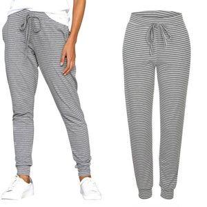 Pants - Loose Drawstring Striped Sweatpants with Pockets